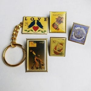 Vintage Postage Stamp Lapel Pin Keychain Lot Of 5